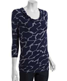 Three Dots navy safari print jersey cowl neck tunic   up to 70