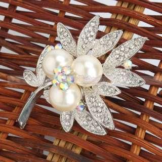 Stylish Leaf Rhinestone Imitation Pearl Brooch Pin alloy
