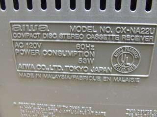 AIWA COMPACT DISC STEREO CASSETTE RECEIVER CX NA22U (CD NOT WORKING