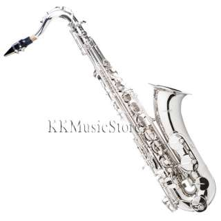 NEW PRO LEVEL NICKEL TENOR SAXOPHONE SAX+TUNER+10 REEDS