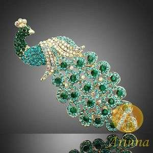 Ladies Emerald Sapphire Peacock Swarovski Crystal Brooch Pin Gold GP