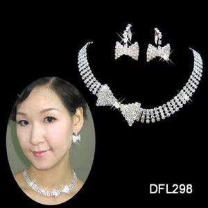 Wedding Bridal crystal necklace earring set TL0298